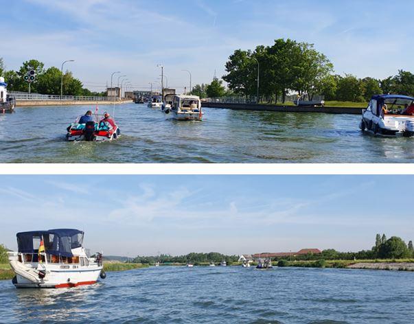 Anfahrt mit 9 Booten nach Bamberg